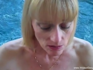 Blowjob By The Backyard Pool From Mom