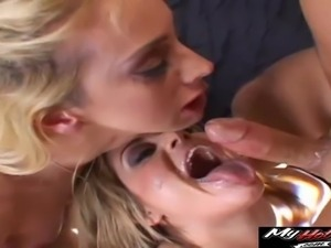 Kelly Wells and Tyla Wynn bend over for a hot fellow's huge boner