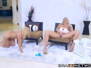 Horny busty MILF and blonde babe lesbian pussy play