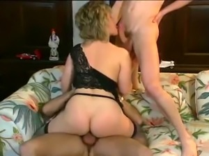 Busty blonde babe fucked in doggy style and double penetrated