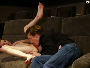 Lovely and playful blonde girl blows dick and fucks in the cinema
