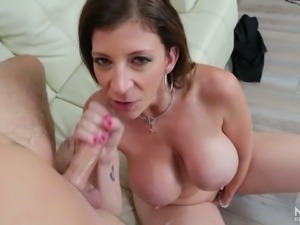 Adorable and lascivious white milf feeling horny for a young man