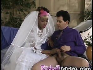 Ebony bride anal fucked on the weeding