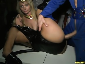 Blonde Ashley Winters and Jmac have lesbian sex