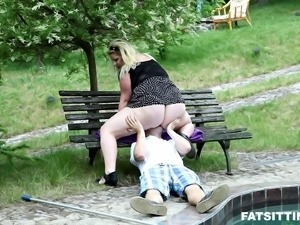 Fat blonde is here to experience her first cock ride in the park