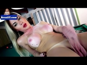 Brazilian tgirl beauty jerking her dick off