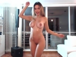 ugly fake tits on a pretty latin cam-slut