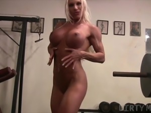 Muscular Pornstar Ashlee Chambers Naked in the Gym