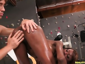 Brunette Richie Calhoun with giant breasts and trimmed beaver masturbating...