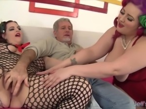 Two Tons of Fun Cum Down Hard on a Lucky Dude's Cock