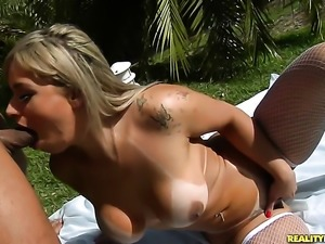 Piercings Angel Lima with huge melons and smooth twat does lewd