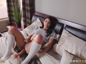 hot latina in socks gets lesbian sex lessons with dildos