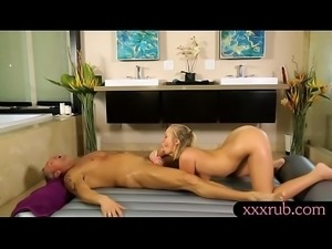 Beautiful masseuse gives nuru massage and gets banged