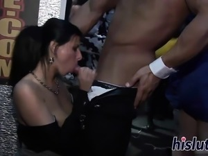 Lovely babes suck dicks in an orgy