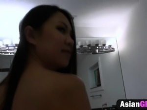 Long dong sucked by skinny Asian girlfriend
