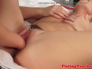 Lovely euro les fisted in the bedroom