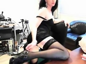 Shaved Pussy Brunette in Stockings Plays Solo