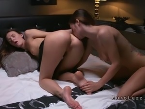 Beautiful lesbians had sex in dark bedroom