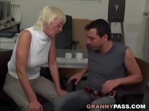 Granny Takes Huge Cock In Office