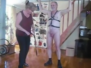 Severe cock and ball whipping with singe tail whipp.