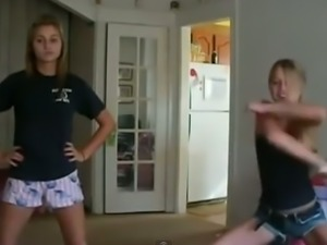 Homemade clip with us girls dancing in the living room