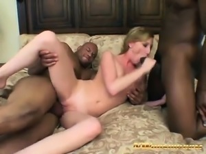 skinny blonde threesome big black cocks interracial porn