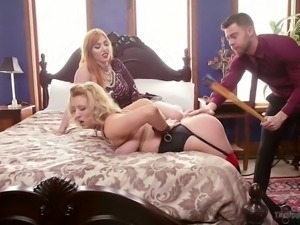Sizzling mistress Lauren Phillips gets her hairy pussy licked before punishment