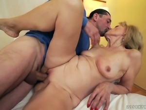 Whorish granny Szuzanne is having dirty sex with hot tempred stud