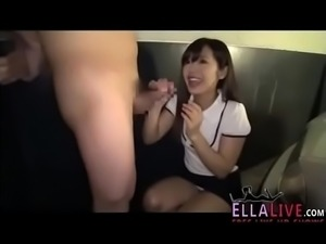 Japanese gal help man cumshot in parking garage - EllaLive.com