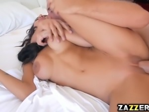 Keiran Lee licks Amia Mileys juicy twat in the bedroom
