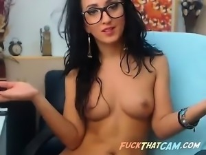Sexy brunette nerd on webcam dildo fucking her horny cunt