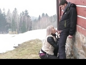 Deepthroat Blowjob Public Doggystyle and Facial for Blonde