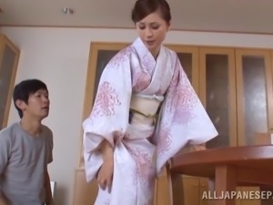 Japanese wife Miku Sunohara shows her cock-sucking skills to a guy
