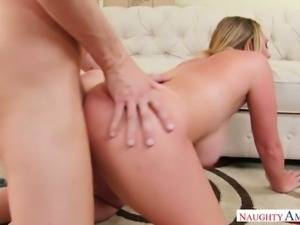 Huge breasted super naughty blond haired housewife gives titfuck and rides dick