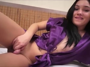 Brazilian beauty, Natalie, gets undressed and strokes her dong!