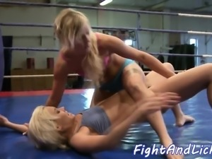 Pussy loving babes wrestle in a boxing ring