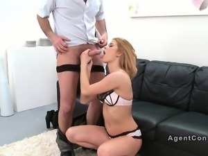 Hot blonde gets doggy style in casting
