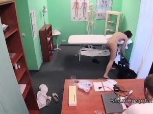 Doctor bangs slim long legged patient