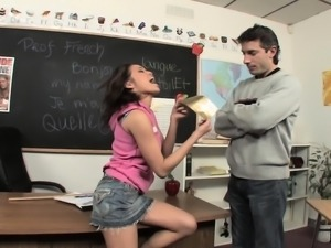 Slutty brunette student fucks her hung teacher and swallows his juices