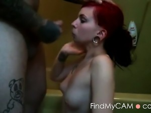 Redhead gets her tonsils tickled with a boner