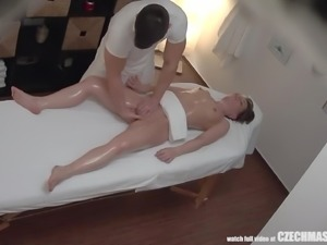 riding cock on the massage table